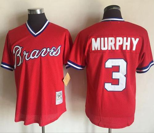 arrives f9d4c 8fc5c Mitchell And Ness 1980 Braves #3 Dale Murphy Red Stitched MLB Jersey