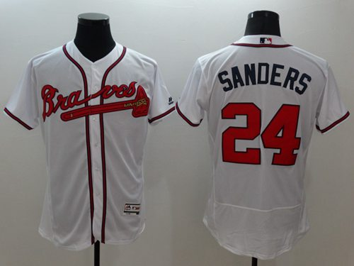 big sale b00a4 cc1e8 Braves #24 Deion Sanders White Flexbase Authentic Collection Stitched MLB  Jersey