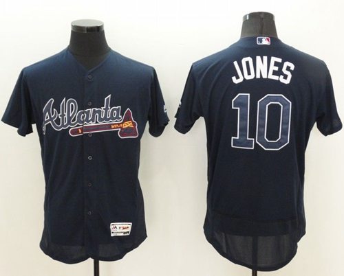 the latest 94e4a cca15 Braves #10 Chipper Jones Navy Blue Flexbase Authentic Collection Stitched  MLB Jersey