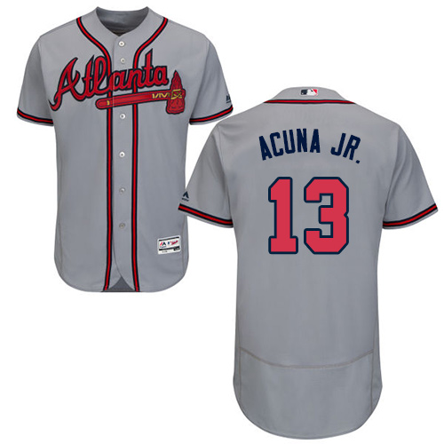 low priced 4ef74 935cc Braves #13 Ronald Acuna Jr. Grey Flexbase Authentic Collection Stitched MLB  Jersey